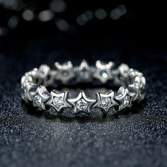 Sterling Silver Eternity Star Ring With Cubic Zirconia