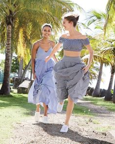 J.Crew women's long spaghetti strap dress in gingham, gingham off-the-shoulder swim top, ball skirt in gingham and Tretorn® canvas T56 sneakers.
