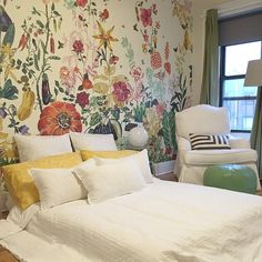@Anthropologie's Great Meadow mural transforms the toddler's room into a magical garden oasis. #wedosometimesusecolor #berkeleyplace