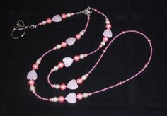 Pink Heart Beaded Lanyard  ID Badge Holder Clip  by Suzyq203, $18.00