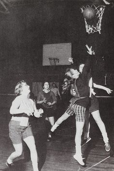 The Women's Recreation Association at the University of Maryland  sponsored intramural sports tournaments for Maryland co-eds needing a study break or some competitive fun. In this semi-final game of a basketball tournament, the ladies of Delta Gamma score 2 points on the way to beating the ladies of Gamma Phi, c. 1959.
