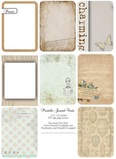 Free printable journaling cards - and she has some wonderful ideas on her blog