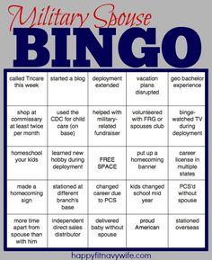 """Military Spouse BINGO"" I would totally win! haha!"