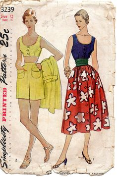 Semplicità del 1950 3239 Misses reggiseno Top camicetta pantaloncini gonna modello Womens Vintage Sewing Pattern taglia 12 busto 30