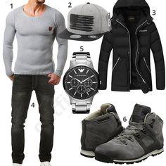 Grau Schwarzer Street Style Mit Strickpullover
