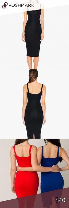 American Apparel Ponte Tank Dress Classic, form-fitting tank dress in AA's ultra slimming Ponte fabric. Deep neckline, knee-hugging length, back vent detail. Purchased and worn once to a fundraiser. Absolutely love this but I just never wear dresses. Perfect condition. American Apparel Dresses Midi