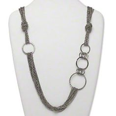 Necklace, multi-strand, antiqued silver-finished steel, mixed chain with 15-40mm open flat round and textured rings, 30 inches with antiqued silver-finished 3-inch extender chain and lobster claw clasp. Sold individually.
