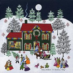 Christmas Paintings - The Christmas Party by Medana Gabbard Christmas Scenes, Christmas Past, Christmas Crafts, Christmas Puzzle, Christmas Paintings, Naive Art, Christmas Illustration, Tole Painting, Vintage Christmas Cards