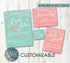 Mint & Coral Wedding Invitations  Invitation by HALOdesignsSHOP