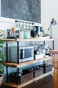 kitchen shelving ideas   DIY Black Pipe Coffee Bar Station. Don't spend several hundred on a table like this when you can make your own!   livesimply.me