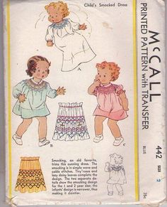 MOMSPatterns Vintage Sewing Patterns - McCall's 442 Vintage 30's Sewing Pattern PRECIOUS Toddler Girls' Smocked Dress in 2 Styles & Bunting Gown, Smocking Transfer Size 2 CUT