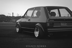 Its a Hellaflush concept for VW Golf mk1 stance works *clear rims*
