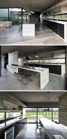 As concrete is the main material throughout this modern house, it has been used to create the concrete countertops, a large island a open shelving in the kitchen. Black cabinetry and dining chairs tie in with the black windows frames. Modern Countertops, Concrete Countertops, Concrete Floors, Concrete Ceiling, Black Kitchens, Cool Kitchens, Kitchen Black, Rustic Kitchen, Glass Backsplash Kitchen
