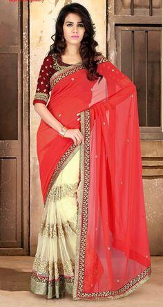 Red And Cream Georgette Beautiful Designer Saree