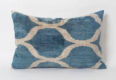 Blue Ikat Lumbar Pillow  Silk Velvet Ikat Decorative by pillowme, $65.00