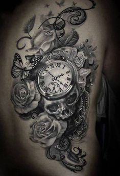 Grey Roses With Skull And Pocket Watch Tattoo On Side Rib