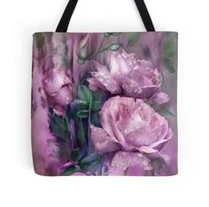 Raindrops On Pink Roses wearable art tote bag by Carol Cavalaris.