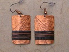 Hammered Copper Earrings with Score Lines by Coppershot on Etsy, $22.00