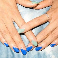 Clean lines for @happycuties using @opi_products in 'Blue It Out Of Proportion' and 'This Cost Me a Mint'