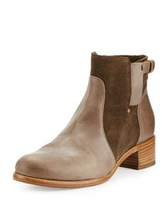 Viola+Leather+&+Suede+Bootie,+Olive+by+Alberto+Fermani+at+Neiman+Marcus.