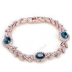 austrian crystal olive leaf fashion beaded alloy bracelet