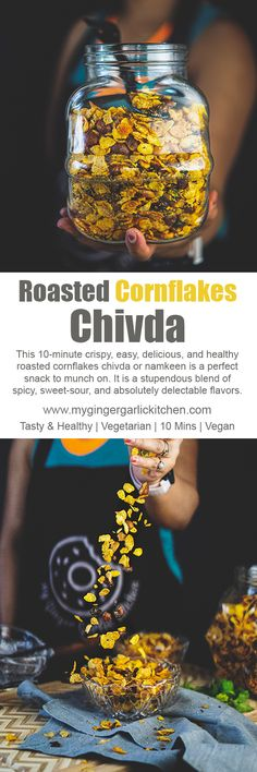 This 10-minute crispy, easy, delicious, and healthy roasted cornflakes chivda or namkeen is a perfect snack to munch on. It is a stupendous blend of spicy, sweet-sour, and absolutely delectable flavors. This dream to eat chivda is more awesome when paired with a cup of evening masala chai, coffee or even with Masala Shikanji. This is a delectably healthy version of ever-so-popular chivda snack. #snack #namkeen #desi #indianfood #cooking #recipevideo #yummy #tasty #vegetatian #indian #teatime
