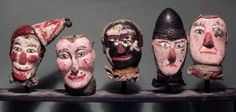 "Anonymous Works: Circa Folk Art Carved ""Punch and Judy"" Puppet Heads Antique Toys, Vintage Toys, Paper Dolls, Art Dolls, Punch And Judy, Toy Bins, Puppet Show, Supernatural Beings, Art Carved"