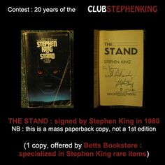 Reminder : Betts Bookstore is contributing to the #StephenKingContest with this signed copy of THE STAND !    Just a bit more than 24h before the end of the contest!    Link to the contest >>> http://clubstephenking.com/
