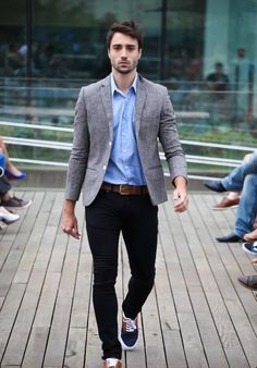 Light blue shirt, grey jacket