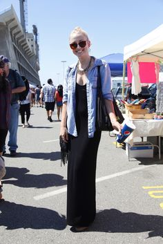 Black maxi dress and chambray