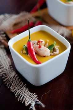Pumpkin Coconut Soup with Chili Chicken