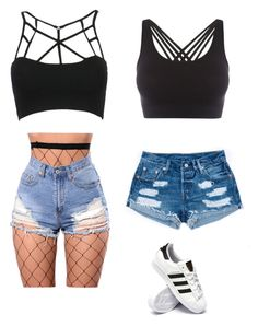 """BRALETTES"" by haileymagana on Polyvore featuring WithChic, adidas and Pepper & Mayne"