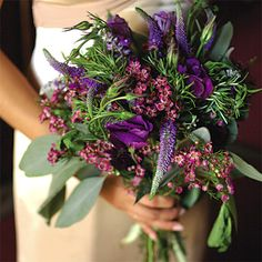 lavender (symbolizing devotion, luck, and loyalty), rosemary (symbolizing remembrance and fidelity), as well as lisianthus, mint and eucalyptus.