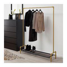 OMEDELBAR Clothes rack, black, gold $129.99