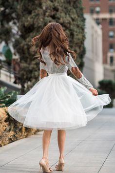 White Tulle Midi Skirt, Tulle Skirts for Women, Midi Skirts, Fun and Flirty Outfits