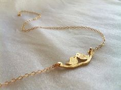 Gold Bird Necklace  Delicate Gold Necklace Little by HLcollection, $28.00