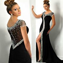0dda07292 Black Crystal Beading Mãe Da Noiva Vestidos Side Slit Vestidos de Noite  Robe De - alishoppbrasil