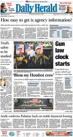 Daily Herald front page, July 10, 2013; Browse our e-edition at http://eedition.dailyherald.com/