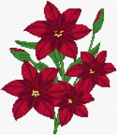 Cross Stitch | Red Flowers xstitch Chart | Design