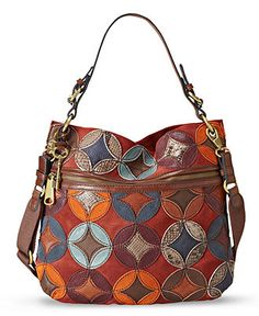 Fossil Handbag, Explorer Patchwork Hobo - Fossil - Handbags & Accessories - Macy's - expensive handbags for women, purses handbags totes, handbags branded sale Fossil Handbags, Fossil Bags, Hobo Handbags, Purses And Handbags, Fossil Purses, Prada Handbags, Hobo Purses, Coach Purses, Coach Bags