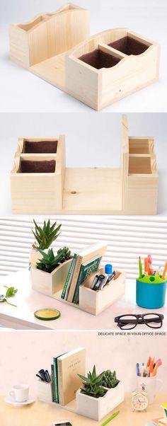 Wooden 4 Compartment Office Desk Organizer More