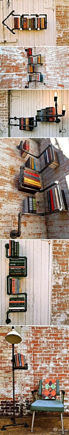 Pipes as bookshelves- you can never have enough bookshelves! - Pretty cool adding the lights too.