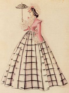 """Sketch by Walter Plunkett of Scarlett's unused """"Sartoga"""" costume for Gone with the Wind"""