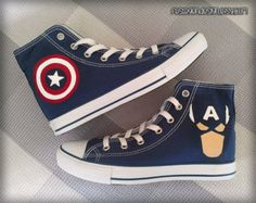 Captain America Custom Converse / Painted Shoes from FeslegenDesign on Etsy. Saved to shoes. Cool Converse, Painted Converse, Custom Converse, Painted Shoes, Converse All Star, Custom Shoes, Converse Shoes, Converse Trainers, Shoes Sneakers
