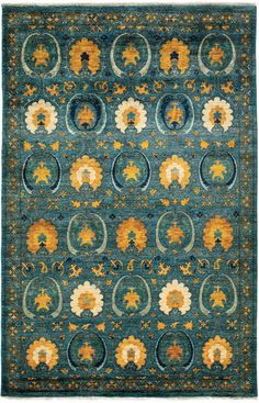 Darya Rugs Arts and Crafts Phoebe Teal Rug