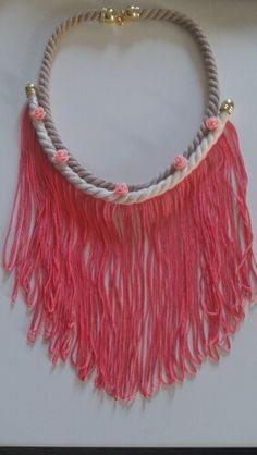 Long pink necklace Pink Necklace, Tassel Necklace, Handmade Necklaces, Color, Jewelry, Fashion, Moda, Jewlery, Jewerly