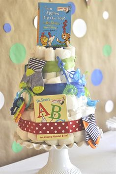 Storybook Themed Baby Shower and diaper cake - your homebased mom - DIY @ Craft's Baby Shower Diapers, Baby Shower Fun, Baby Shower Gender Reveal, Baby Shower Parties, Baby Shower Themes, Baby Boy Shower, Baby Shower Gifts, Baby Gifts, Baby Shower Book Theme