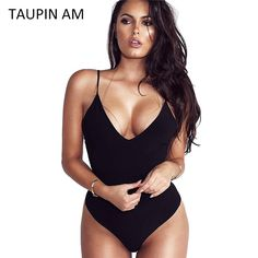 TAUPIN AM Black Bodysuit Women Jumpsuit Sexy Rompers Spaghetti Strap Body  Suit Sleeveless Spandex Bodysuit Combinaison Femme cf62cde5cf2