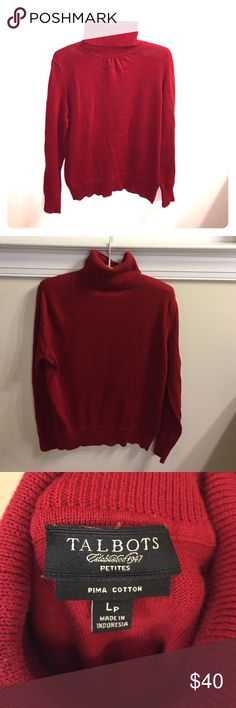 Talbots® petite dark red turtleneck sweater Barely used Talbots petite collection dark red 100% Pima cotton long sleeved turtleneck sweater with faint delicate ruche at top of mid neckline. Size is Large petite (fits more on the bigger medium size though). Sweater in excellent condition with no rips, tears or stains. Pima cotton also known as extra-long staple (ELS), is considered to be one of the superior blends of cotton and is extremely durable, absorbent and associated with high quality…