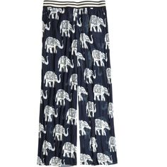 CALYPSO St. Barth Tuskera Elephant Print Wide-Leg Pant ($279) ❤ liked on Polyvore featuring pants, navy cc, elastic waist pants, indian pants, elephant print pants, navy blue wide leg pants and navy trousers